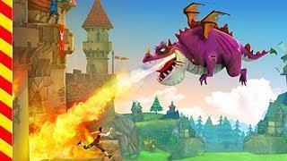 Драконы напали на замок - мультик для детей. Дракон мультфильм. Злой дракон стреляет огнем - мультик