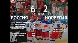 РОССИЯ - НОРВЕГИЯ.Чемпионат мира 2015 по хоккею.Все голы.