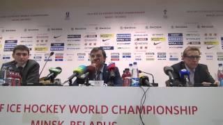 Пресс-конференция Олега Знарка после матча с Белоруссией (2:1) на ЧМ в Минске. Часть II