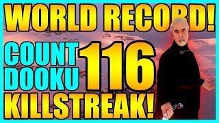 (World Record) 116 Count Dooku Gameplay/Killstreak - Star Wars Battlefront 2