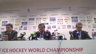 Пресс-конференция Олега Знарка после матча с Белоруссией (2:1) на ЧМ в Минске. Часть I