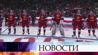 Первый канал в прямом эфире покажет поединок хоккейных сборных России и Канады.