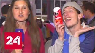 Фанат из Франции устроил мим-шоу в прямом эфире - Россия 24