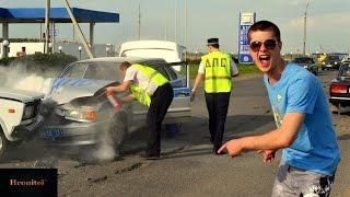 Приколы в России!Подборка шуток про дибилов!Дураки на дорогах ,аварии,розыгрыши!Смешное видео!18+